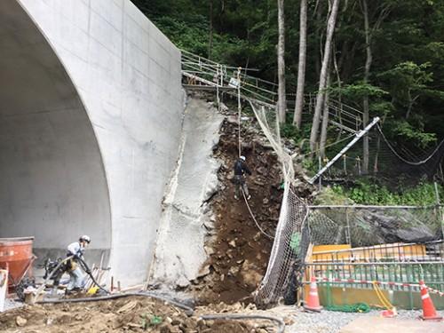 起点側大型ブロック掘削状況